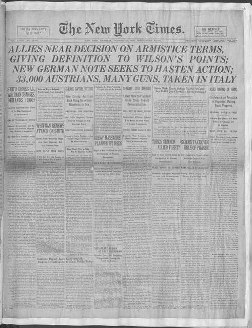 World War history : daily records and comments as appeared in American and foreign newspapers, 1914-1926 (New York), October 31, 1918, (1918 October 31 November 4)