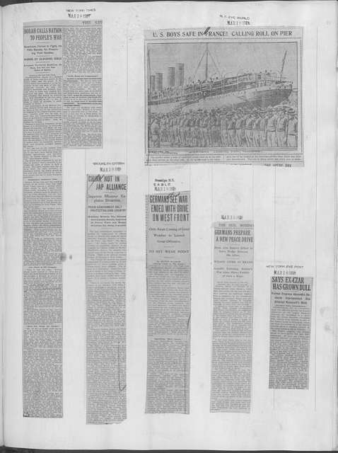 World War history : daily records and comments as appeared in American and foreign newspapers, 1914-1926 (New York), March 17, 1918, (1918 March 17-20)
