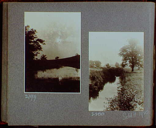 Reference prints, 1919-1920, numbers 2133-2377. Marsh with sun low in sky, obscured by clouds; Stream with grassy banks and tree on right