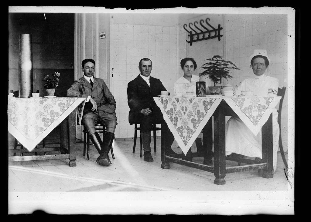 Tea room at Belgrade, Serbia, showing Miss Gladwin, A.R.C. nurse, Dr. Eastman and Dr. Jolly