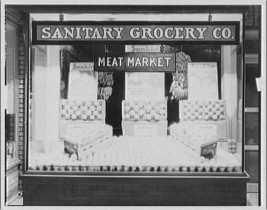 California Sunkist displays. Window display at Sanitary Grocery Co. I