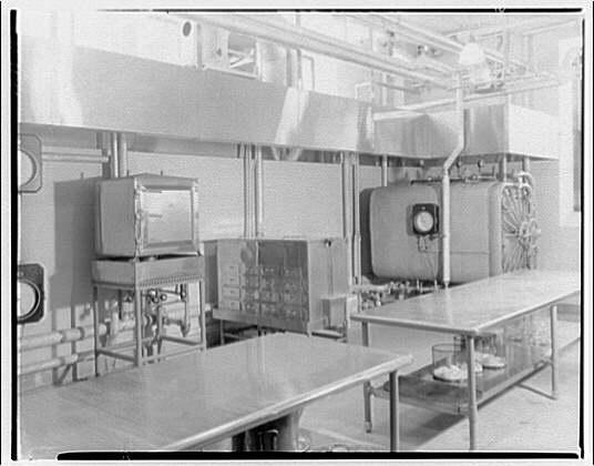International Nickel Co. at Walter Reed Hospital. Room with worktables, Walter Reed Hospital