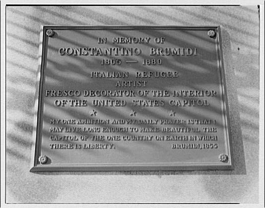 Miscellaneous subjects. Plaque in memory of Constantino Brumidi, painter of U.S. Capitol frescoes