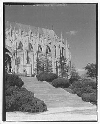 National Cathedral exteriors. Apse and choir of National Cathedral from south steps I