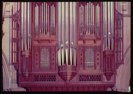 National Cathedral interiors. Church organ pipes in National Cathedral