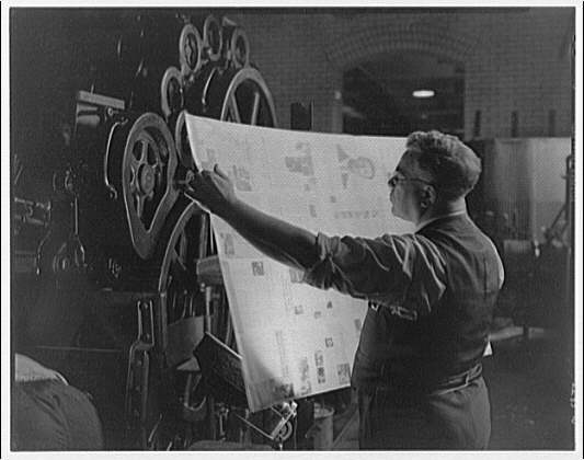 Printing shops in Washington for Stanford Paper Co. Man checking printed material II