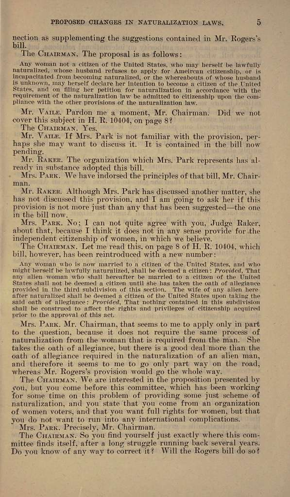 Proposed changes in naturalization laws. Hearings before the Committee on Immigration and Naturalization, House of Representatives, Sixty-sixth Congress, second session. February 28, 1920. Statements of Maud Wood Park and John Jacob Rogers