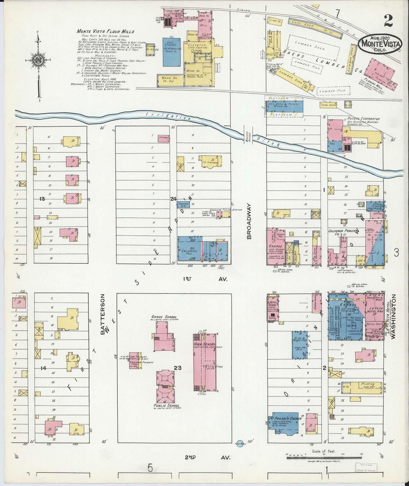 Sanborn Fire Insurance Map from Monte Vista, Rio Grande County, Colorado