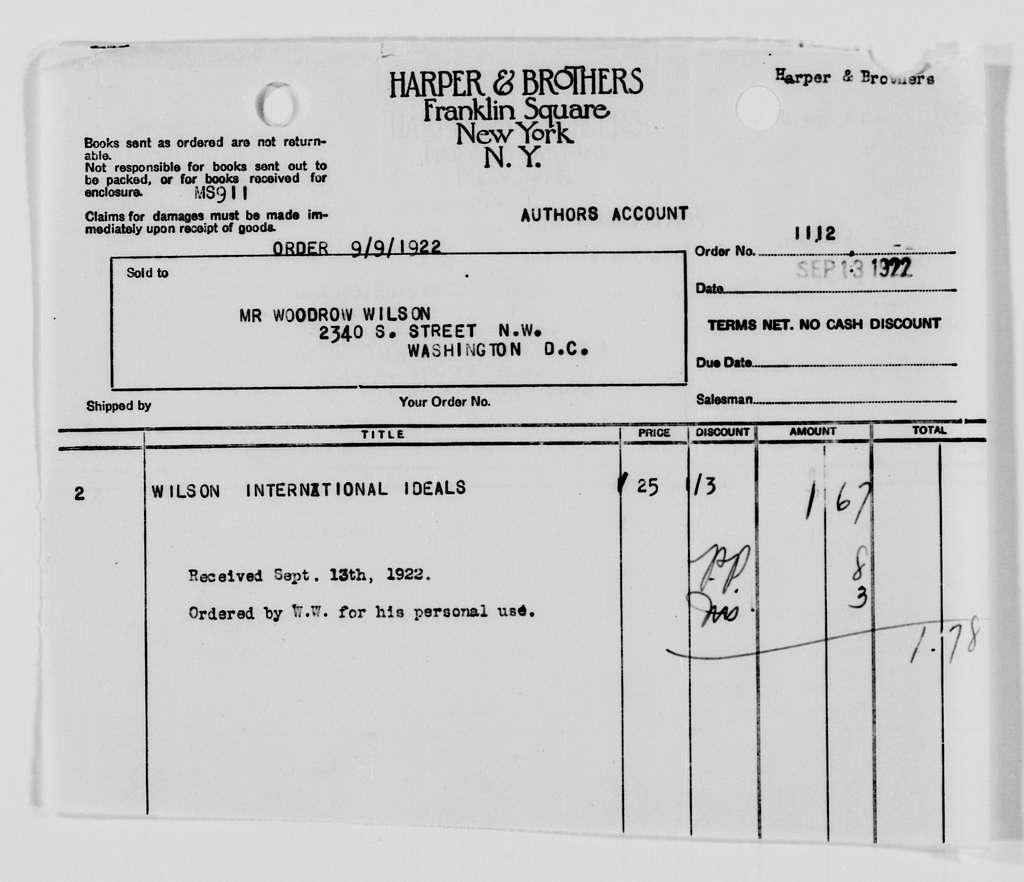Woodrow Wilson Papers: Series 8: Financial Material, 1864-1944; Subseries F: Bills and Receipts, 1882-1924; Bills and Receipts; 1921, Apr
