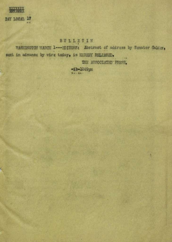 Associated Press, Washington, D.C., Bureau News Dispatches: 1923, Mar. 1-15