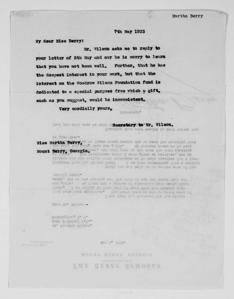 Woodrow Wilson Papers: Series 2: Family and General Correspondence, 1786-1924; 1923, Apr. 26-July 19