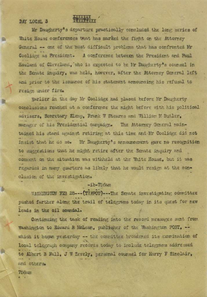 Associated Press, Washington, D.C., Bureau News Dispatches: 1924, Feb. 16-28