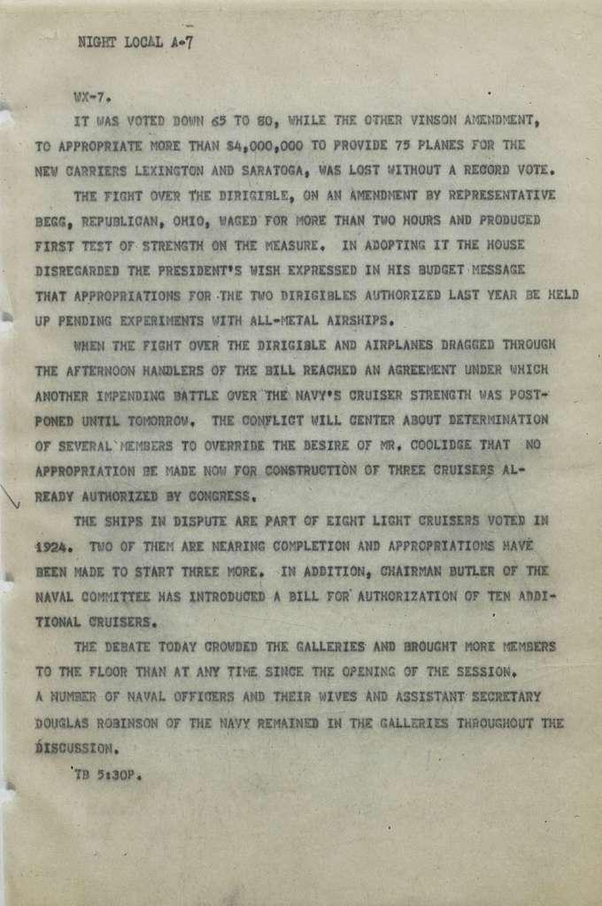Associated Press, Washington, D.C., Bureau News Dispatches: 1927, Jan. 1-15