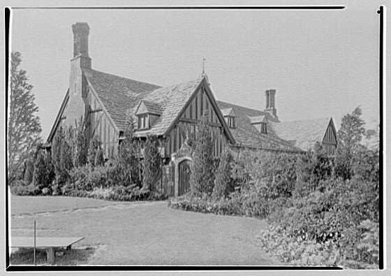 Robert Law, Jr., residence in Portchester, New York. Garden wall and garage