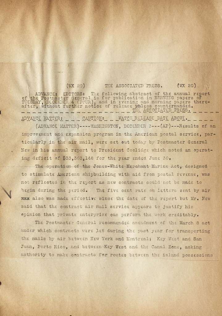 Associated Press, Washington, D.C., Bureau News Dispatches: 1928, Dec. 1-10