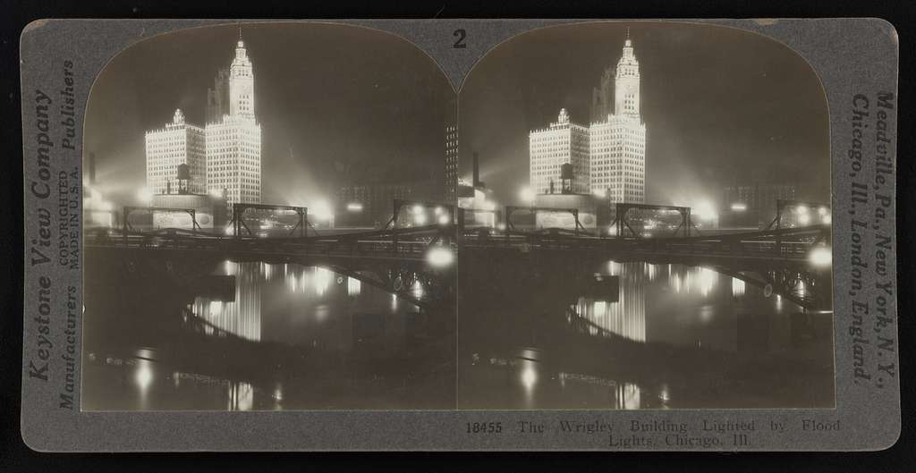 The Wrigley Building Lighted by Flood Lights, Chicago, Ill