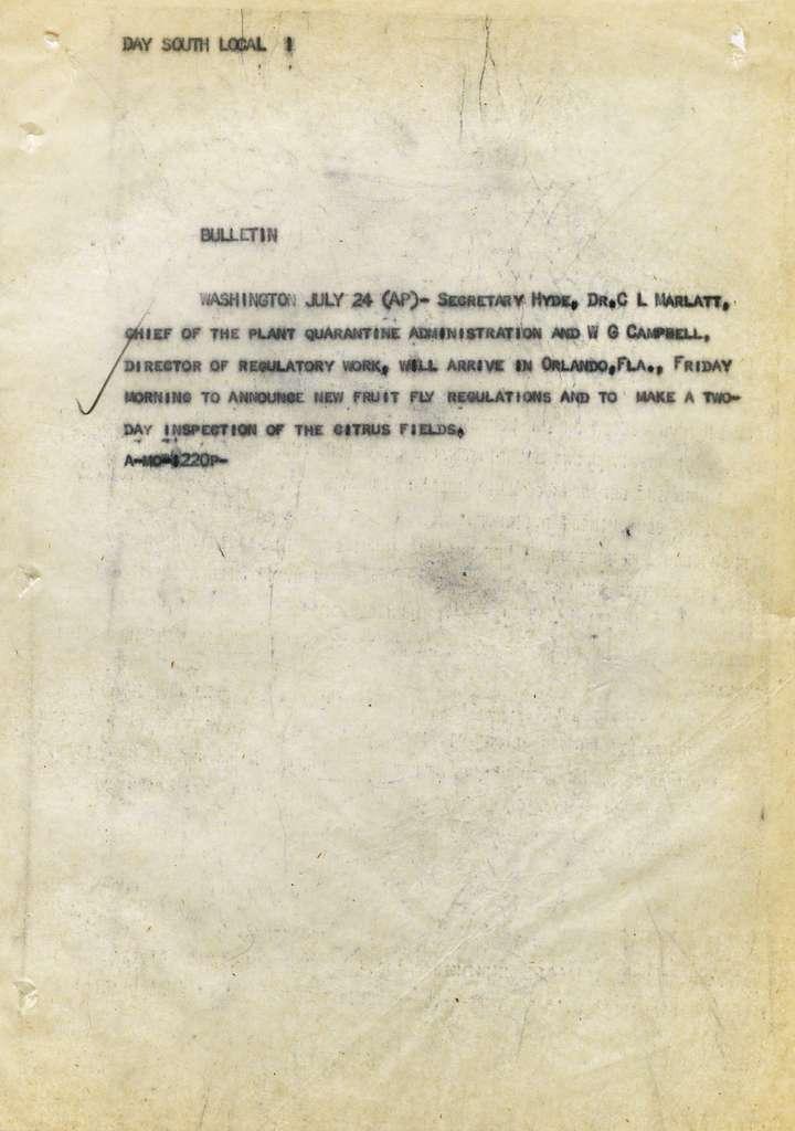 Associated Press, Washington, D.C., Bureau News Dispatches: 1929, July 21-31