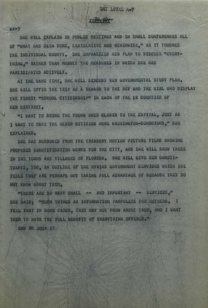 Associated Press, Washington, D.C., Bureau News Dispatches: 1929, June 11-20