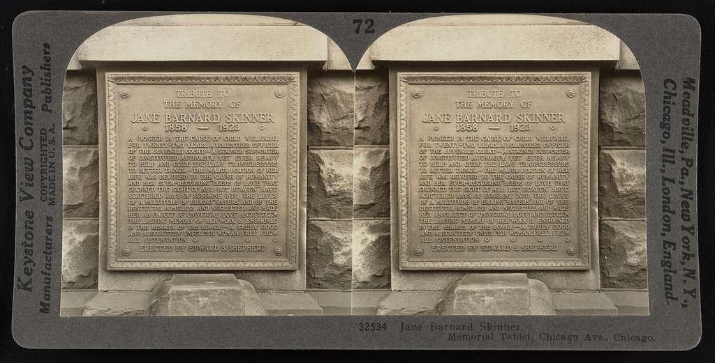 Jane Barnard Skinner Memorial Tablet, Chicago Ave, Chicago