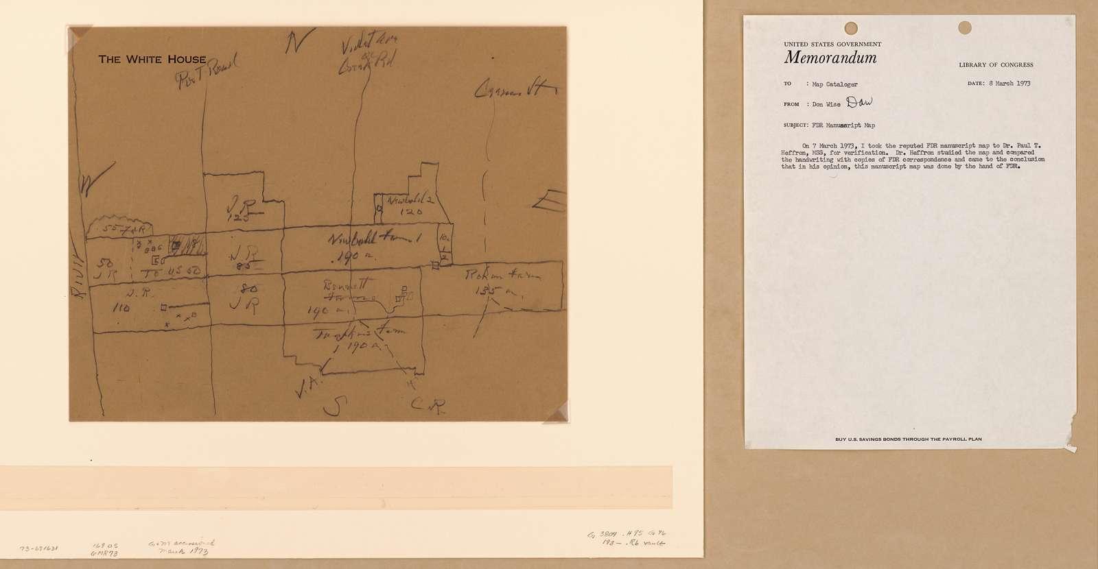 Map of Roosevelt properties at Hyde Park, N.Y