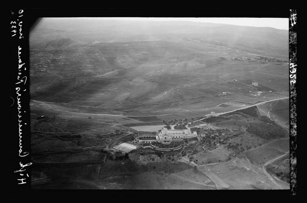 Air views of Palestine. Jerusalem from the air (The Old City). Jerusalem. Government House. Looking down on building and garden