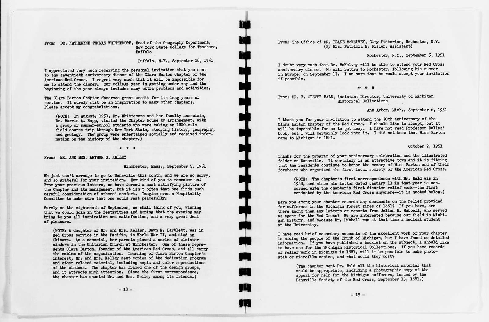 Clara Barton Papers: Red Cross File, 1863-1957; American National Red Cross, 1878-1957; Chapter No. 1, Dansville, N.Y., anniversaries, 1931, 1941, 1951