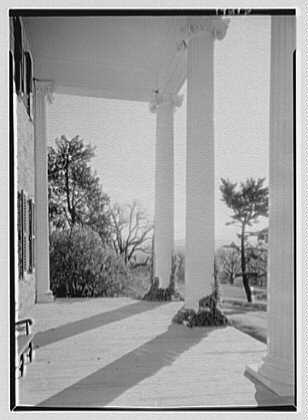 Gerald B. Lambert, Carter Hall, residence in Millwood, Virginia. Inside portico III