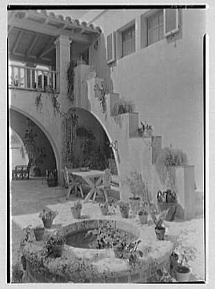 James D. Fulton, residence at 6480 Allison Rd., Miami Beach, Florida. Patio steps up and wall