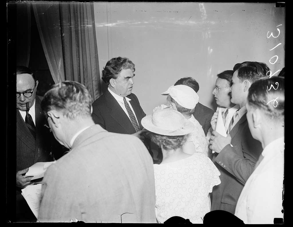 John L. Lewis at press conference