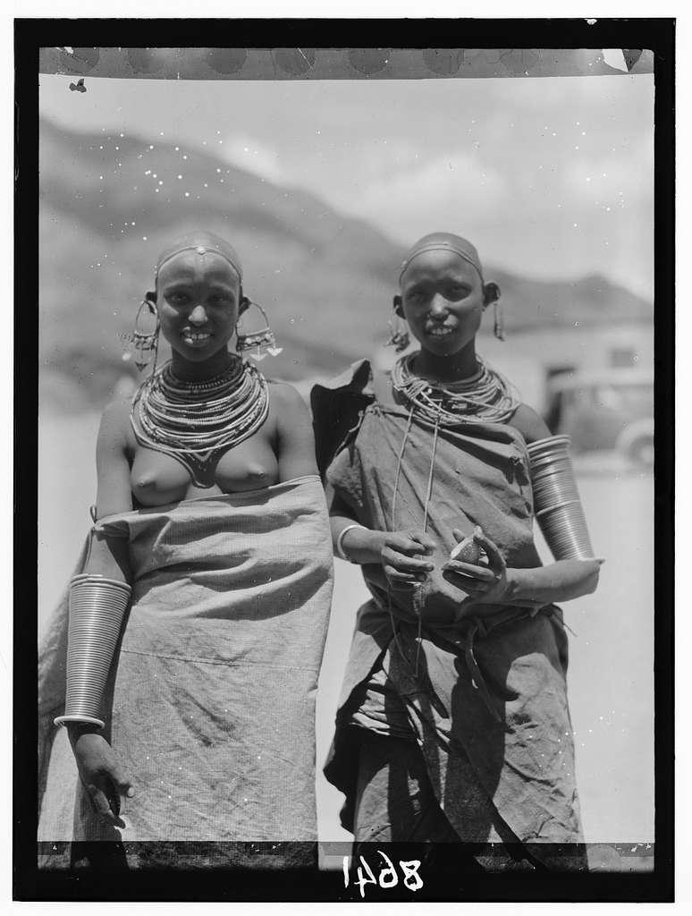 Tanganyika. En route to Longido. Longido girls with large ear ornaments
