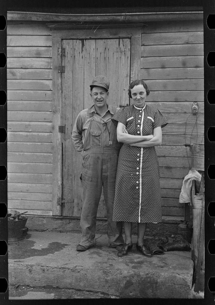 Untitled photo, possibly related to: Mr. and Mrs. Roy Merriott on rented farm of 160 acres near Estherville, Iowa. Until recently owned by loan company; it has been sold to a private party. It is the third farm Merriott has lost in the past ten years