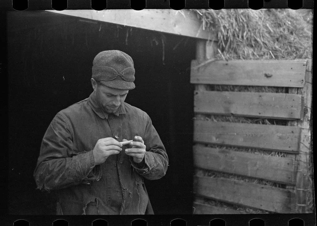"Untitled photo, possibly related to: Rex Inman, farmer, near Estherville, Iowa, rolling a cigarette. Very few farmers smoke ""tailor mades"""