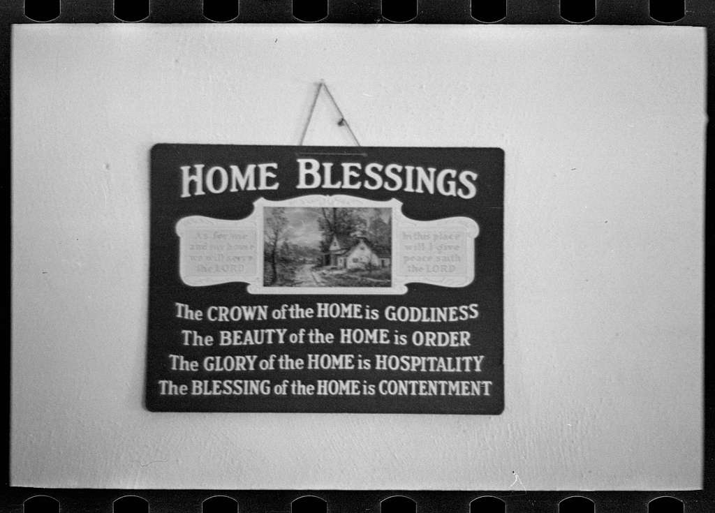 Untitled photo, possibly related to: Sign in J.E. Herbrandson's farmhouse near Estherville, Iowa