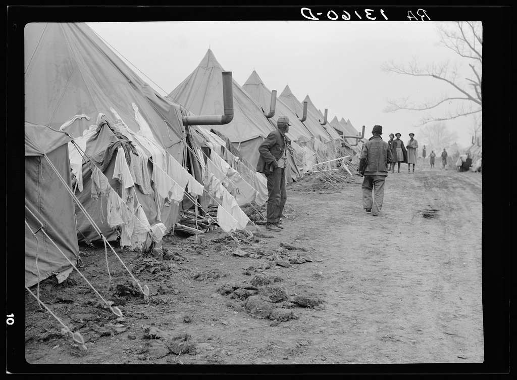 A street of tents in the camp for flood refugees at Forrest City, Arkansas