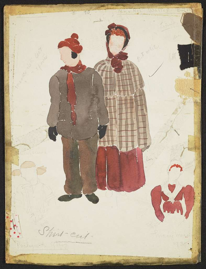 Prologue to Glory: Mr. & Mrs. Walter Butler. Brown coat, brown pants, red scarf, red cap, black mittens. Brown plaid cloak, red dress, red bonnet.