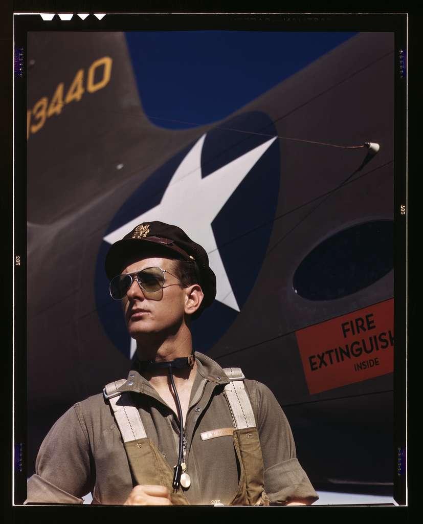 F.W. Hunter, Army test pilot, Douglas Aircraft Company plant at Long Beach, Calif