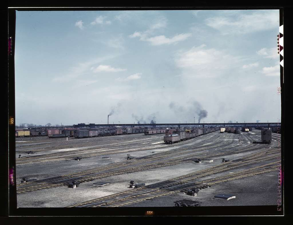 General view of part of classification yard at C & NW RR's i.e. Chicago and North Western railroad's Proviso yard, Chicago, Ill