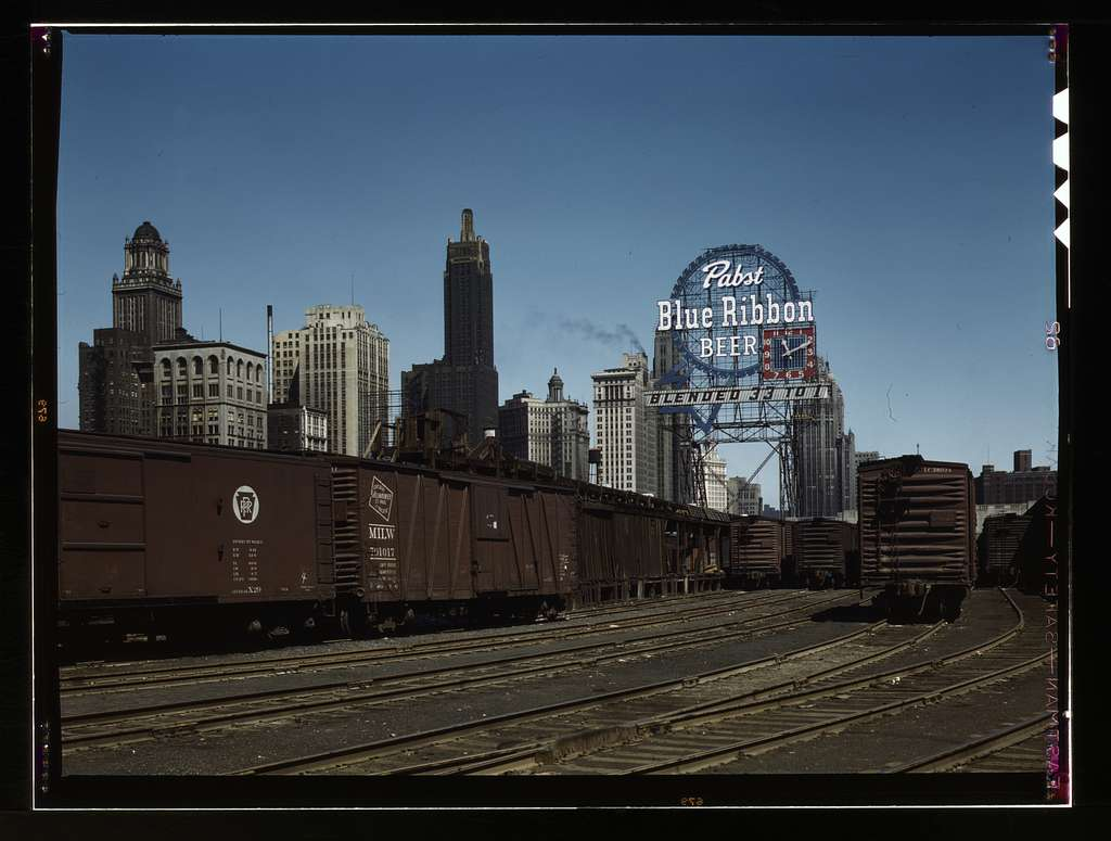 General view of part of the South Water street Illinois Central Railroad freight terminal, Chicago, Ill