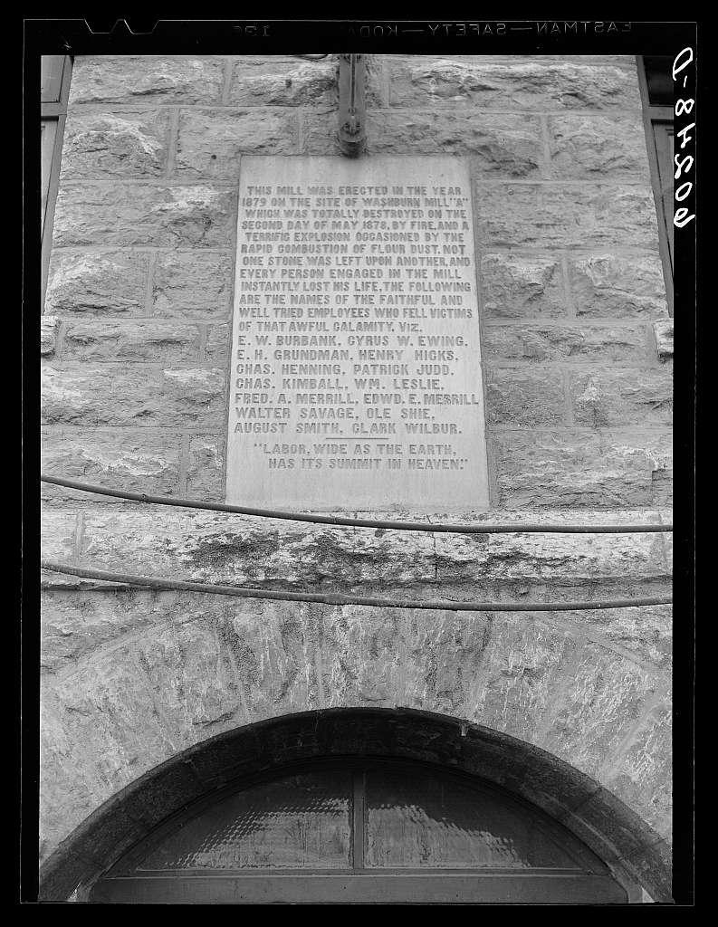 Inscription on Gold Medal flour mill. Minneapolis, Minnesota