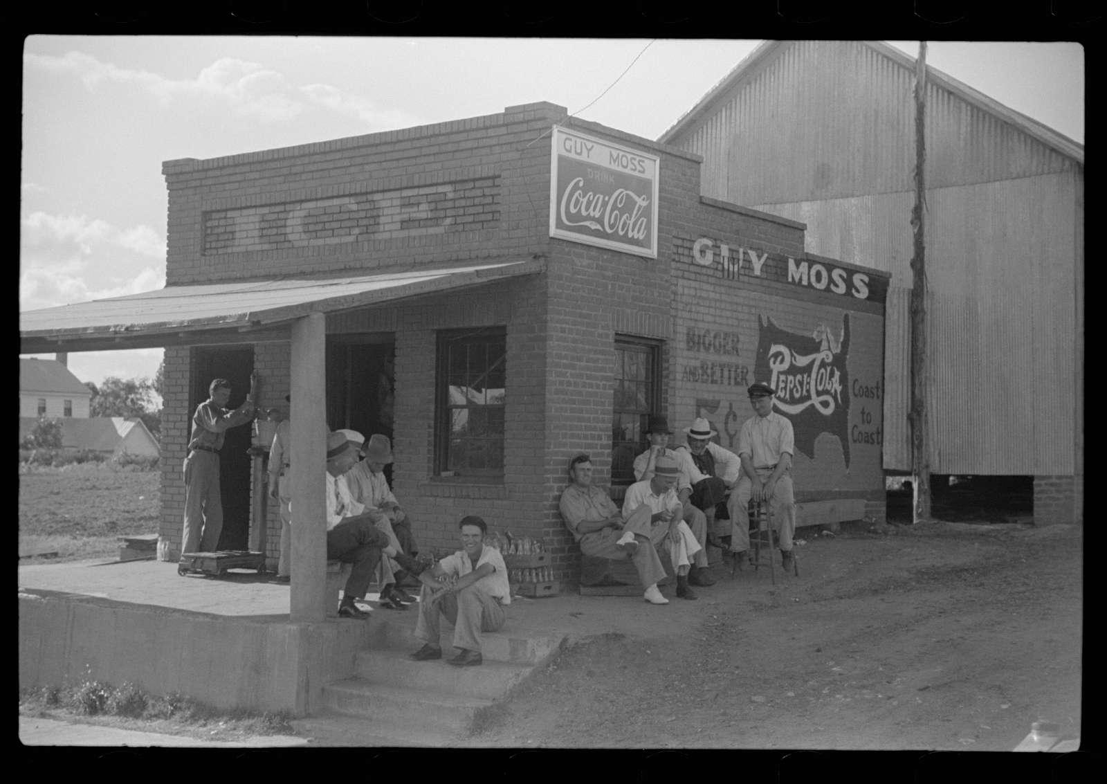 Men hanging around crossroads store, Greene County, Georgia