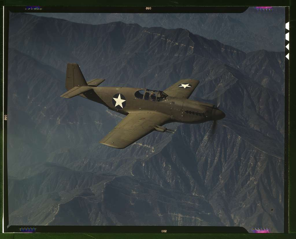 """P-51 """"Mustang"""" fighter in flight, Inglewood, Calif. The """"Mustang"""", built by North American Aviation, Incorporated, is the only American-built fighter used by the Royal Air Force of Great Britain"""