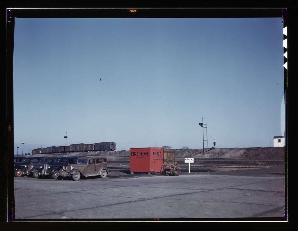 Train going over the hump at the C & NW RR's i.e. Chicago and North Western railroad's Proviso yard, Chicago, Ill