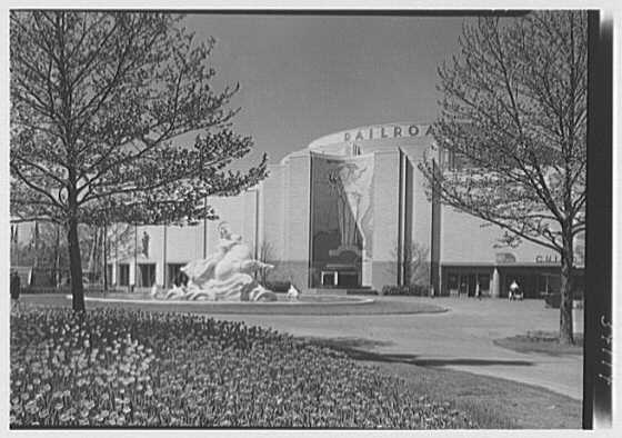 "World's Fair, Railroad Building. Exterior showing ""The East"" mural"