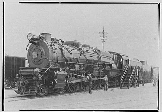 World's Fair, railroad exhibit locomotives. Pennsylvania Railroad 6759, general view