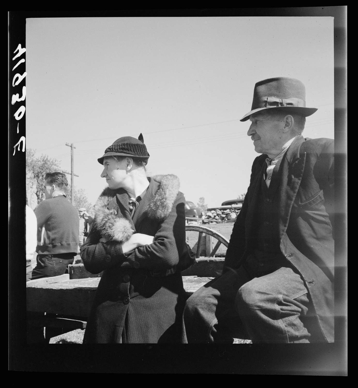 An old couple listening to the auctioneer at the sale of Mr. Anthony Yecek's farm. Derby, Connecticut
