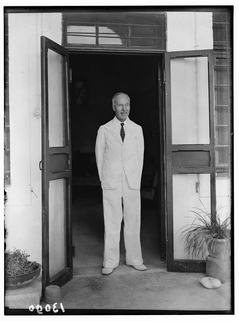 Dr. H. Torrance, Tiberias. Mr. Radford in doorway of doctor's house