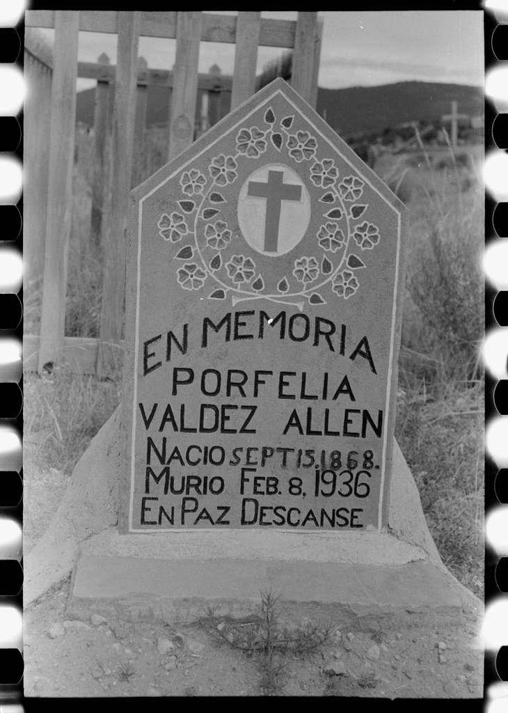 Grave in Spanish-American cemetery, Penasco, New Mexico