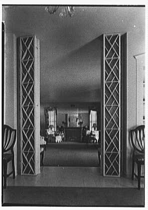 John W. Bullock, residence at Sunset Island, no. 2, Miami Beach, Florida. Dining room, axis, to living room, vertical