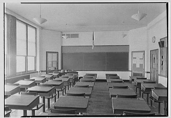 Long Beach Junior Senior High School, Long Beach, Long Island. Typical classroom, second floor