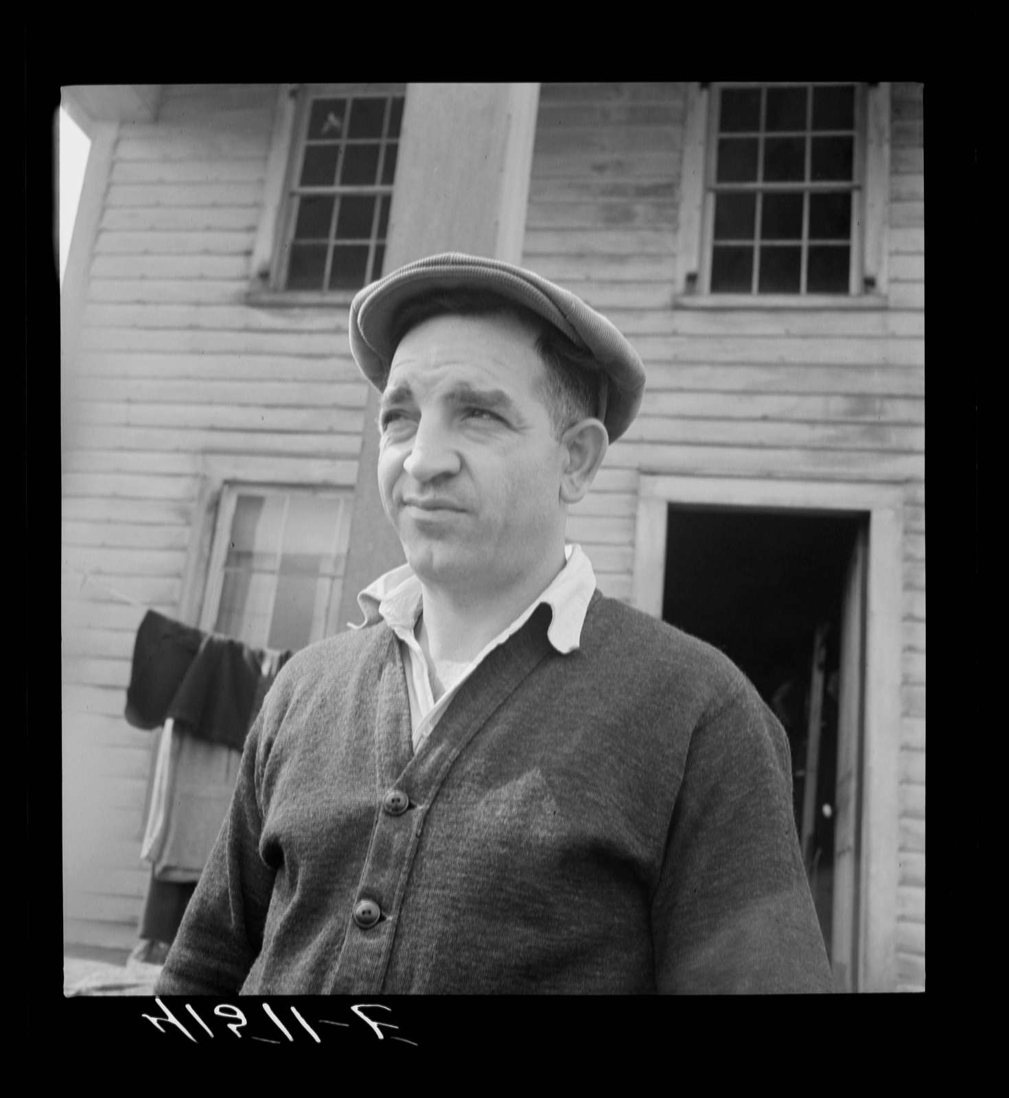 Mr. D'Annunzio, Italian farmer who has been living on submarginal area of Rumsey Hill for a year. He was an unemployed auto mechanic in the city. Near Erin, New York